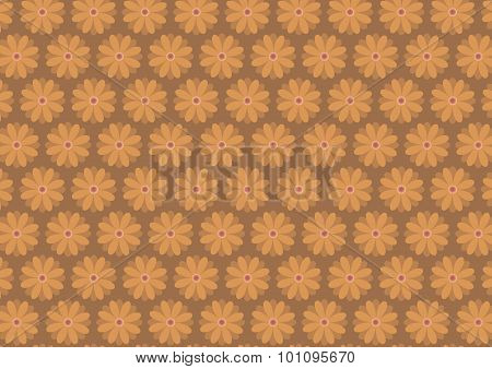 Autumn Floral Pattern In Ochre Color Shades