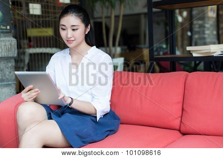 Girl And Her Computer Tablet Pcs