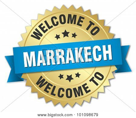 Marrakech 3D Gold Badge With Blue Ribbon