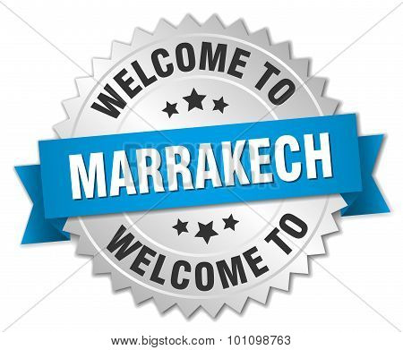 Marrakech 3D Silver Badge With Blue Ribbon
