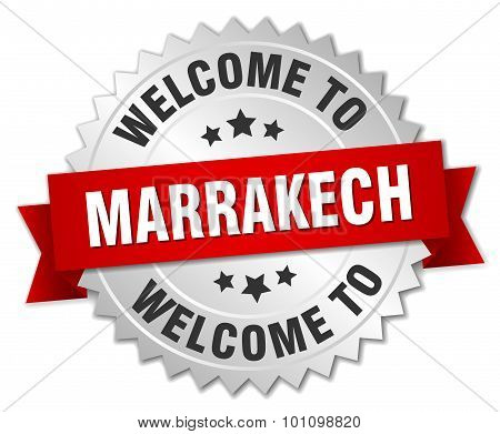 Marrakech 3D Silver Badge With Red Ribbon