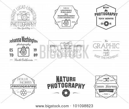 Photography Badges and Labels in Vintage Style. Simple Line design. Retro theme for photo studio, ph