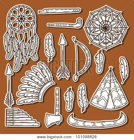 Set of cartoon hand drawn stickers on native american theme: tomahawk, feather, canoe, bow, arrow, hat, mandala, flute, pipe, dreamcatcher. Native american concept for your design