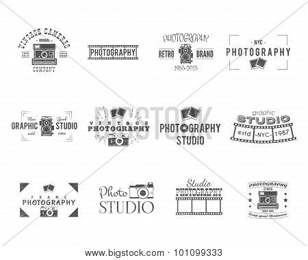 Vintage Textured Photography Badges, Labels. Monochrome design with stylish cameras and elements. Re