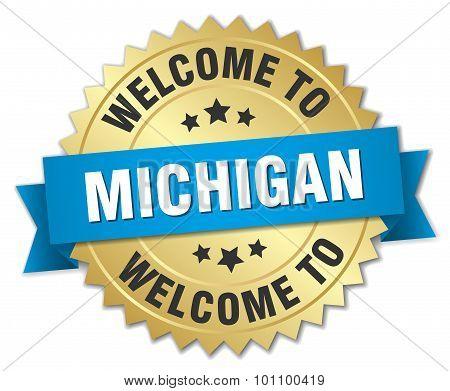 Michigan 3D Gold Badge With Blue Ribbon