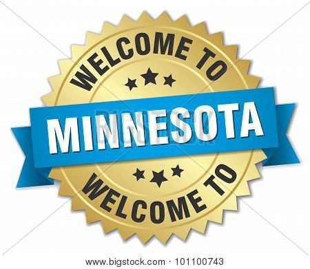 Minnesota 3D Gold Badge With Blue Ribbon