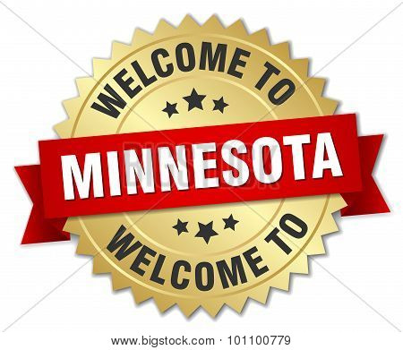 Minnesota 3D Gold Badge With Red Ribbon