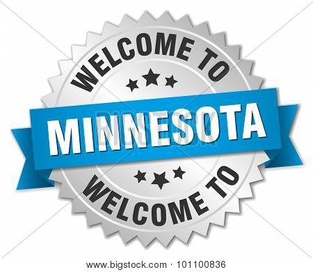 Minnesota 3D Silver Badge With Blue Ribbon