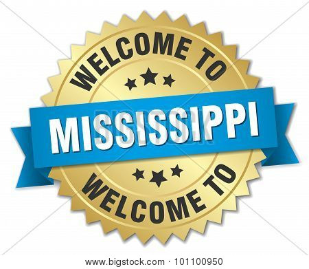 Mississippi 3D Gold Badge With Blue Ribbon