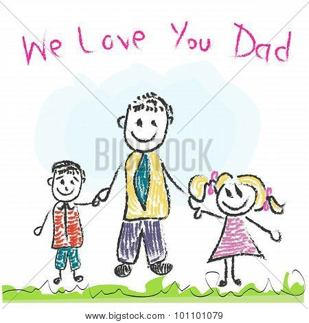 We Love You Dad Father's Day Doddle Greeting Card.eps