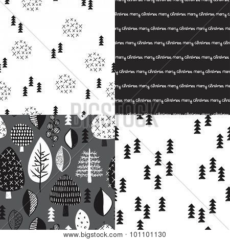 Seamless trendy scandinavian style black and white christmas holiday nature trees and typography illustration background collection set pattern in vector
