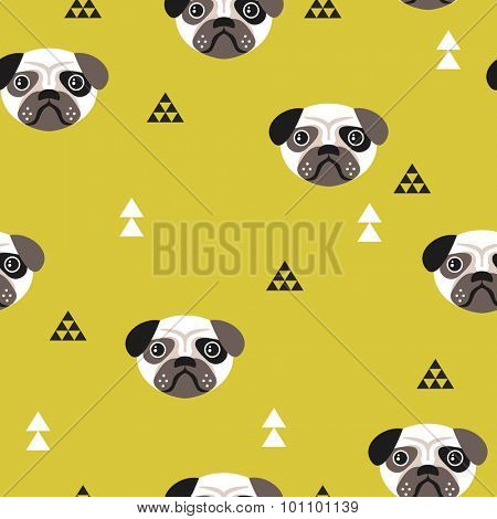 Seamless kids pug dogs illustration fun geometric scandinavian style background pattern in vector mustard