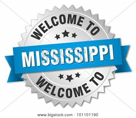 Mississippi 3D Silver Badge With Blue Ribbon