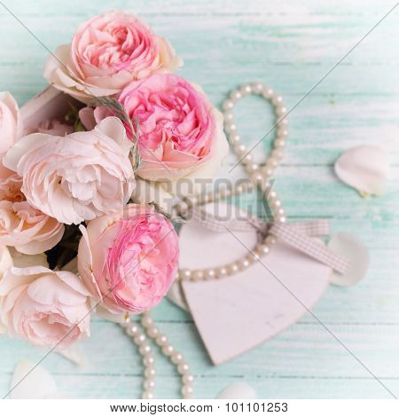 Pink Roses In Wooden Pot, Decorative Heart And Pearls