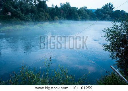 River Vah In Haze, Slovakia