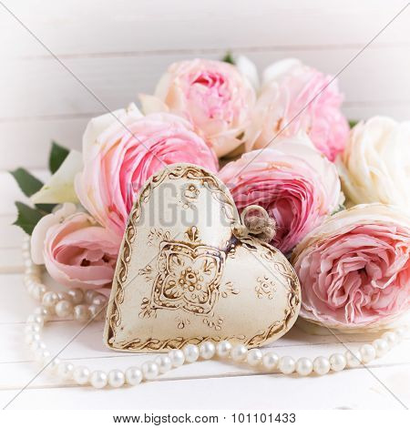 Background With Decorative Heart And Sweet Pink Roses Flowers