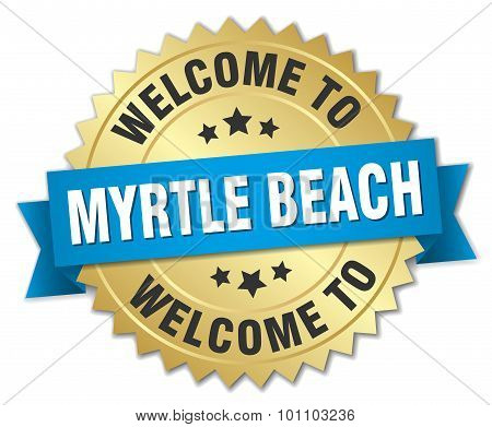 Myrtle Beach 3D Gold Badge With Blue Ribbon