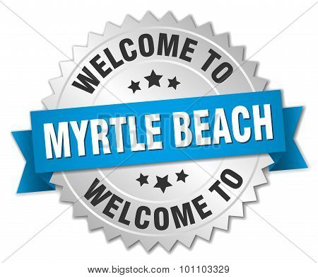 Myrtle Beach 3D Silver Badge With Blue Ribbon