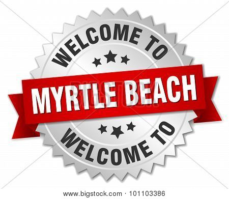 Myrtle Beach 3D Silver Badge With Red Ribbon