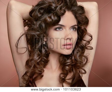 Wavy Hair. Attractive Girl With Makeup. Curly Hairstyle. Brunette. Expressive Eyes Stare. Elegant La