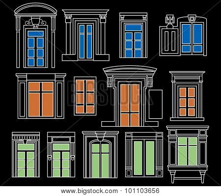 thirteen different coloured vintage windows. Four in the first two lines and five in the last one. Blue, orange and green colour with a white outline on a black background.