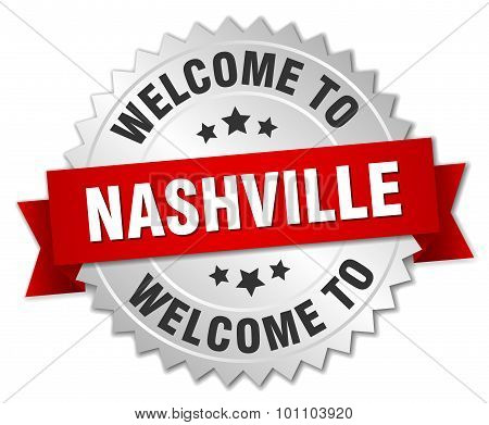 Nashville 3D Silver Badge With Red Ribbon