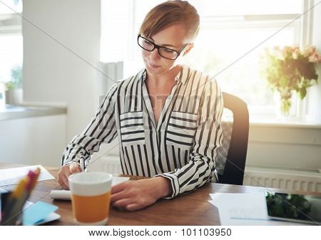Successful Female Entrepreneur Working At Home