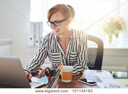 Female Entrepreneur Working On Her E-business