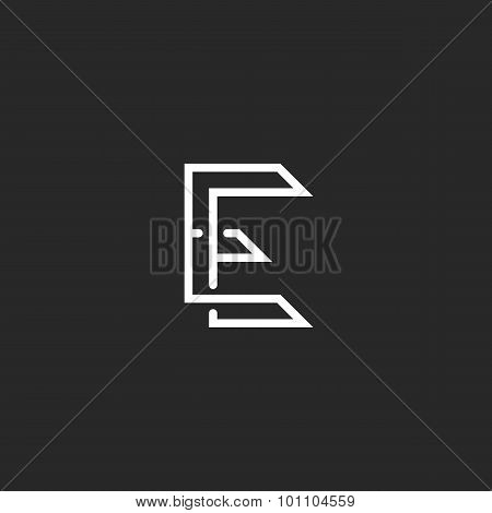 Hipster E Letter Logo Monogram, Illusion Crossing Outline Thin Line, Black And White Mockup Invitati