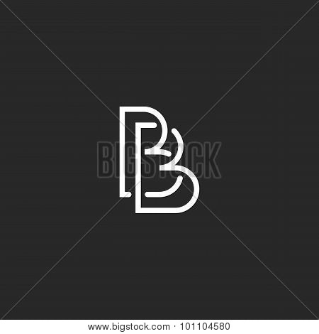 Letter B Monogram Logo, Intersection Thin Line Design Overlap Outline, Black And White Style Busines
