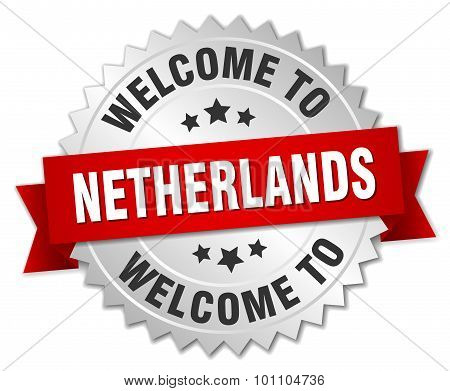 Netherlands 3D Silver Badge With Red Ribbon
