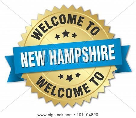 New Hampshire 3D Gold Badge With Blue Ribbon