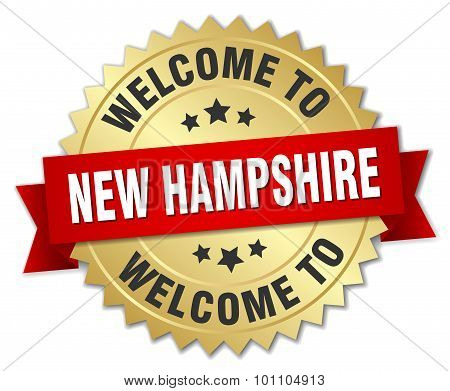 New Hampshire 3D Gold Badge With Red Ribbon