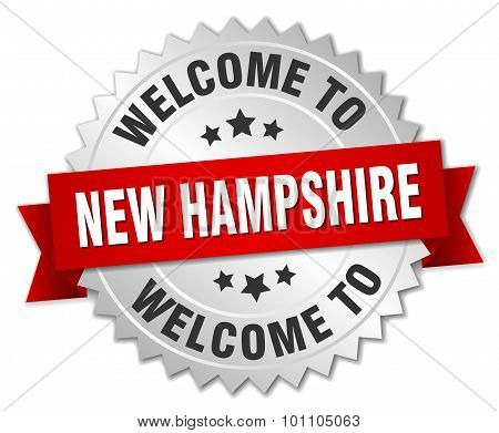 New Hampshire 3D Silver Badge With Red Ribbon