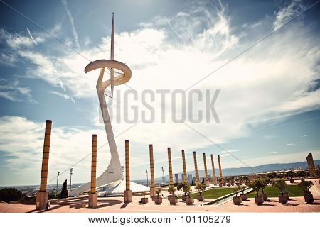BARCELONA, SPAIN - MAY 02: Scenic landscape view of the Calatrava Tower, Barcelona, Spain, built as a communications tower for the 1992 Olympics. May 02, 2015.