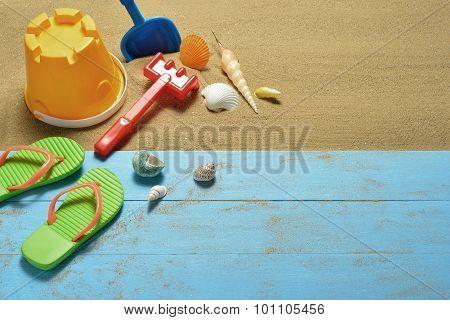 Beach accessories on the sandy beach