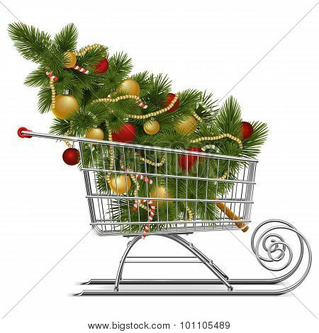 Vector Supermarket Sled With Christmas Tree