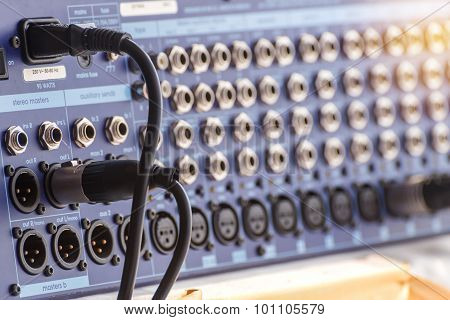 Jack Audio Connectors Is Connected To Sound Mixer