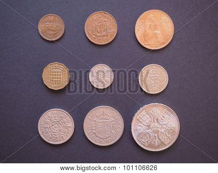 LONDON UK - CIRCA DECEMBER 2014: Full range of Predecimal British Pound coins withdrawn on Decimal Day i.e. 15 February 1971