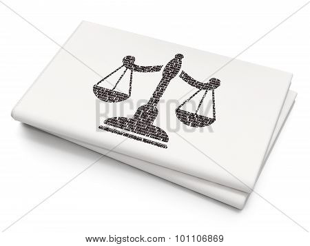 Law concept: Scales on Blank Newspaper background
