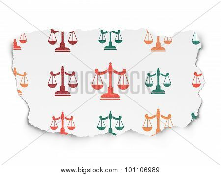 Law concept: Scales icons on Torn Paper background