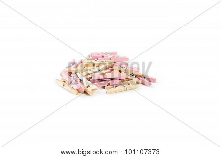 Wood Clothespins Isolated On White