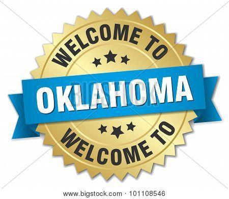 Oklahoma 3D Gold Badge With Blue Ribbon