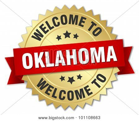 Oklahoma 3D Gold Badge With Red Ribbon