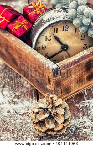 Retro Arrangement For Christmas With An Old Alarm Clock