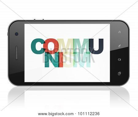 Politics concept: Smartphone with Communism on  display