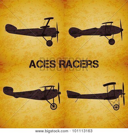 Set of vector retro airplane WW1