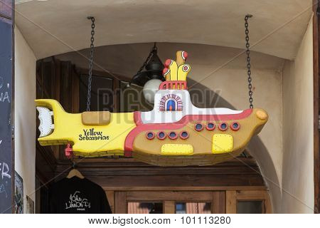 PRAGUE, CZECH REPUBLIC -  SEPTEMBER 05, 2015: Photo of Yellow Submarine in the John Lennon pub.