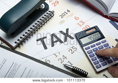 Filling Tax Return On Desktop