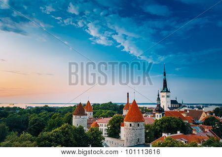 Evening Tallinn, Estonia. Old Town Cityscape at sunset, clear